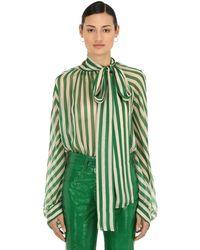 Petar Petrov Striped Sheer Silk Chiffon Blouse - Green