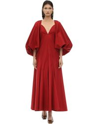 Khaite Puff Sleeve Evening Dress - Red