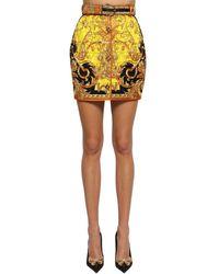Versace Minirock Aus Seidentwill - Gelb