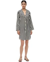 Morgan Lane Jillian Stripe Silk Charmeuse Night Gown - Black