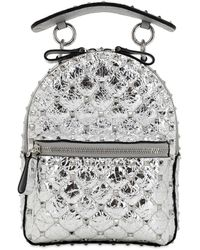 Valentino Garavani Mini Spike Laminated Leather Backpack - Metallic