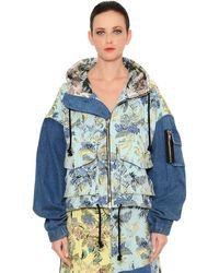 Marna Ro Brocade & Denim Patchwork Bomber Jacket - Blue