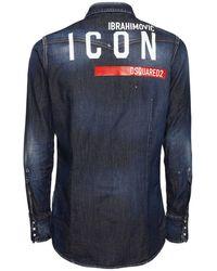 DSquared² Джинсовая Рубашка С Принтом Ibrahimovic Icon - Синий