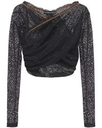 Y. Project Twisted Lace Cropped Top - Black