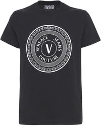 Versace Jeans Couture - Logo Printed Cotton T-shirt - Lyst