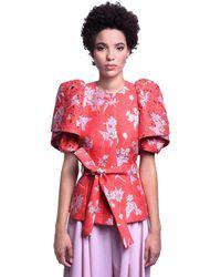 Delpozo Embellished Brocade Short Sleeve Jacket - Red