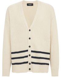 DSquared² Cardigan Aus Alpakamischstrick Mit 3 Streifen - Weiß