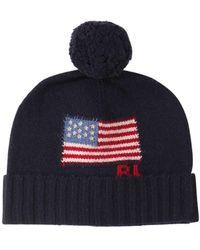 Polo Ralph Lauren メリノウール インターシャロゴビーニー帽 - ブルー