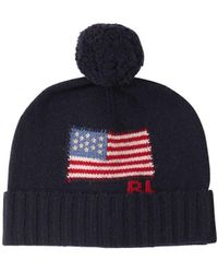 Polo Ralph Lauren Logo Intarsia Merino Wool Beanie Hat - Blue