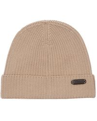 Brioni Logo Leather Tag Wool Beanie Hat - Natural