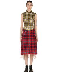 R13 パッチワークコットンシャツドレス - レッド