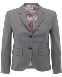 Thom Browne Куртка Из Шерстяной Саржи - Серый