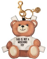 Moschino Teddy Bear Tab Key Chain - White