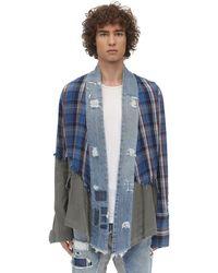 Greg Lauren パッチワーク&アーミーkimonoシャツ - ブルー