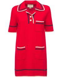 Gucci Трикотажное Платье Из Хлопка И Шелка - Красный