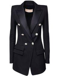 Alexandre Vauthier Wool Grain De Poudre Long Blazer - Black