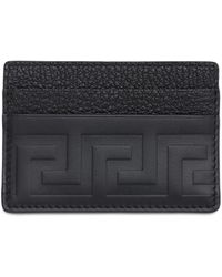 Versace Greca Embossed Leather Card Holder - Black