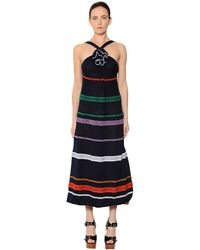 Sonia Rykiel Embroidered Stripes Cotton Voile Dress - ブルー