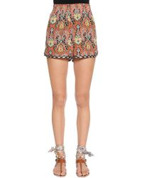 Etro - Paisley Printed Silk Crepe Shorts - Lyst