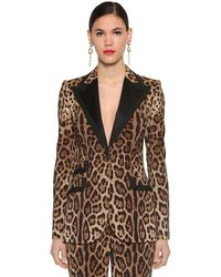 Dolce & Gabbana Blazer De Lona De Lana Stretch Con Estampado - Negro