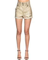 Saint Laurent High Waist Waxed Denim Shorts - Metallic