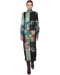 Ferragamo Printed Silk Twill Midi Dress - Blue