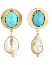 Magda Butrym Pansy Earrings W/ Pearl & Stones - Blue