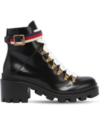 Gucci - 60mm Trip Brushed Leather Boots - Lyst