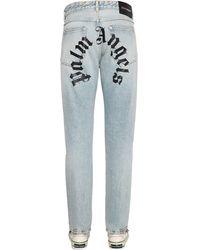 Palm Angels Logo Print Cotton Denim Jeans - Blue