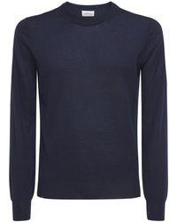 Brioni Logo Embro Cashmere & Silk Jumper - Blue
