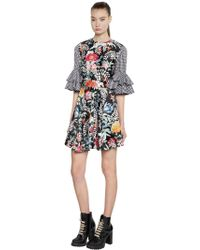 House of Holland - Floral Satin & Gingham Mini Dress - Lyst