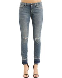 Dolce & Gabbana - Skinny Destroyed Cotton Denim Jeans - Lyst