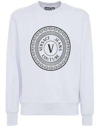 Versace Jeans Couture Logo Cotton Crewneck Sweatshirt - White