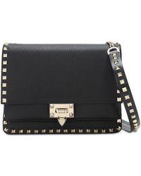 Valentino Garavani - Rockstud Grained Leather Shoulder Bag - Lyst