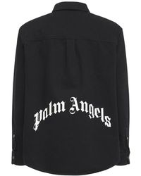 Palm Angels - Рубашка Из Хлопкового Деним С Принтом Логотипа - Lyst