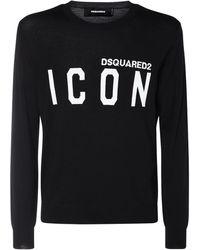 DSquared² Icon ジャカードニットウールセーター - ブラック