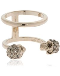 Alexander McQueen - Gold Double Skulls Stacked Ring - Lyst