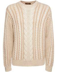 Agnona Kaschmir- Und Seidensweater Mit Lederdetails - Natur