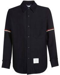 Thom Browne ウールブレンドシャツジャケット - ブルー