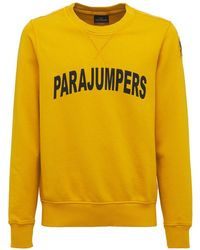 Parajumpers Logo Printed Cotton Crewneck Sweatshirt - Yellow
