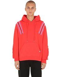 Facetasm Jersey Sweatshirt Hoodie W/ Knit Inserts - Red