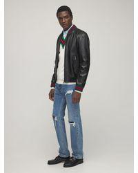 Gucci Jacke aus Leder mit Webstreifen - Schwarz