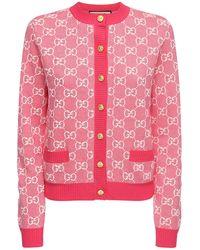 Gucci Gg Jacquard Knit Wool & Cotton Cardigan - Pink