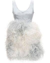 Patou Mini Dress W/feathers - White