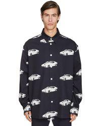 Versace Oversize Car Printed Cotton Denim Shirt - Black