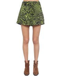 Ganni Shorts Con Estampado Animal - Verde