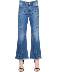 Don't Cry Stars Embroidered Flared Denim Jeans - Blue