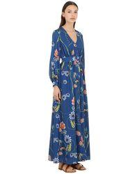 Borgo De Nor Платье Из Крепа С Цветочным Принтом - Синий