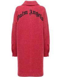 Palm Angels Oversize Logo Wool Jacket - Red