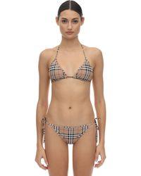 Burberry Bikini Aus Stretch-lycra Mit Karodruck - Natur